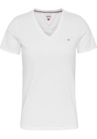 Tommy Jeans V-Shirt »TJW SKINNY STRETCH V NECK«, mitTommy Jeans Logo-Flag auf der Brust kaufen