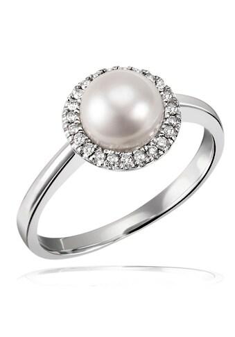 goldmaid Fingerring, 375/- Weißgold 1 Perle 23 Brillanten kaufen