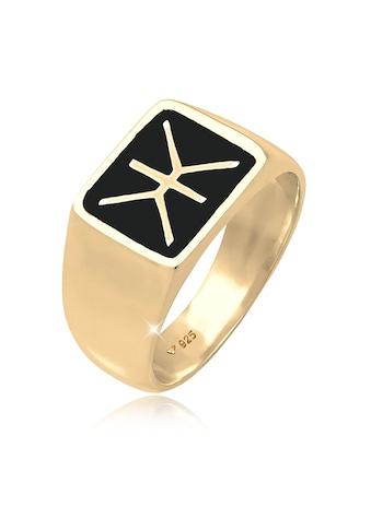Kuzzoi Silberring »Herren Siegelring Emaille Logo Basic 925 Silber« kaufen