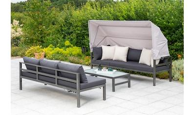 MERXX Loungeset »Amaro«, 18 - tlg., Ecklounge, Tisch 55x110 cm, Textil/Alu kaufen