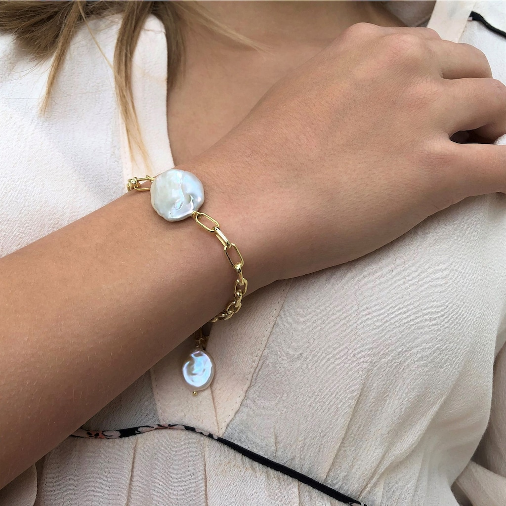 AILORIA Armband »SHINJU gold/weiße Perle«, 925 Sterling Silber vergoldet Süßwasserperle