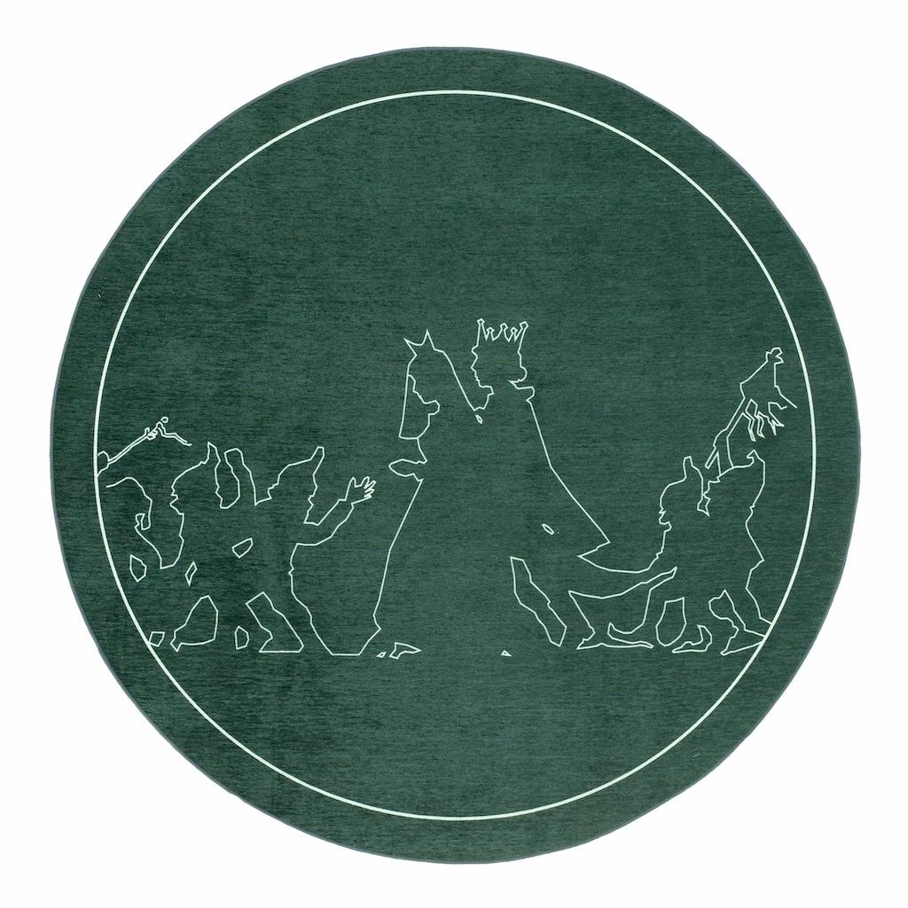 grimmliis Kinderteppich »Märchen 3«, rund, 2 mm Höhe, Motiv Schneewittchen, Kinderzimmer