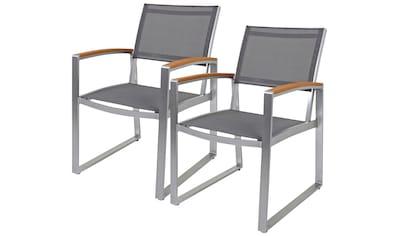 GARDEN PLEASURE Gartenstuhl »AVA«, (2er Set), Kunststoff/Non - Wood, grau kaufen
