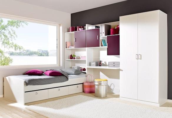 Kinderzimmer-Set in Weiß-Lila