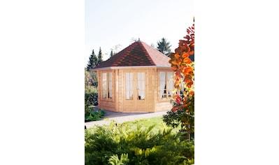WOLFF FINNHAUS Holzpavillon »Roma 4.0«, BxT: 480x480 cm, mit rot - schwarzen Schindeln kaufen