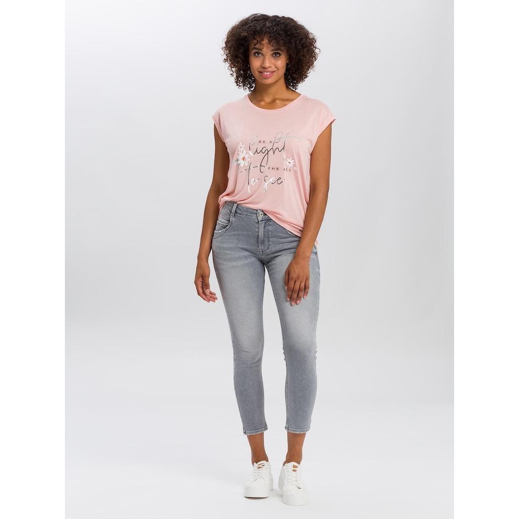 Cross Jeans® T-Shirt »55733«, Glänzender Frontprint