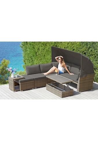 KONIFERA Loungebett »Hawaii Premium«, 19 - tlg., Polyrattan, inkl. Auflagen kaufen