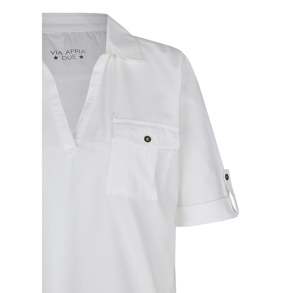 VIA APPIA DUE Poloshirt, mit unifarbenem Stoff