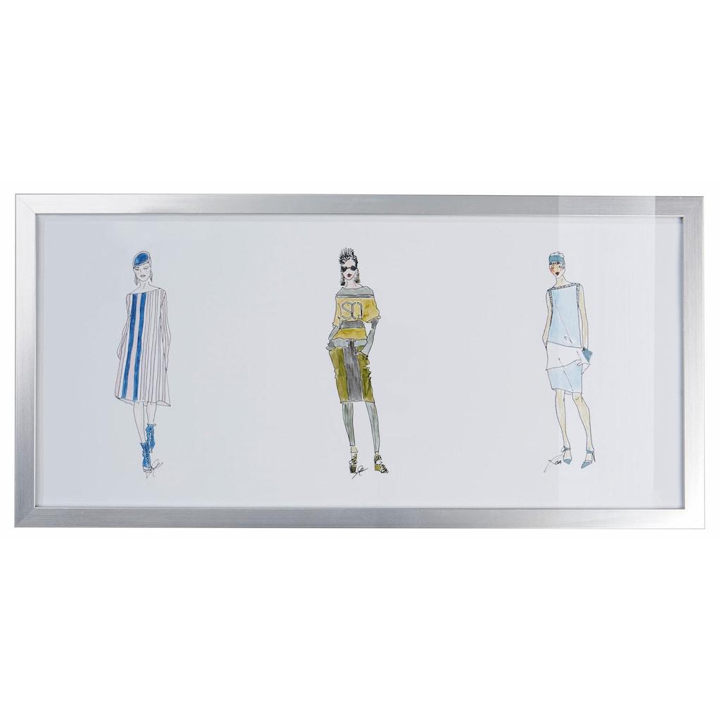 Guido Maria Kretschmer Home&Living Bild »Outfit - Skizzen«, mit silbernem Rahmen, 50/23 cm