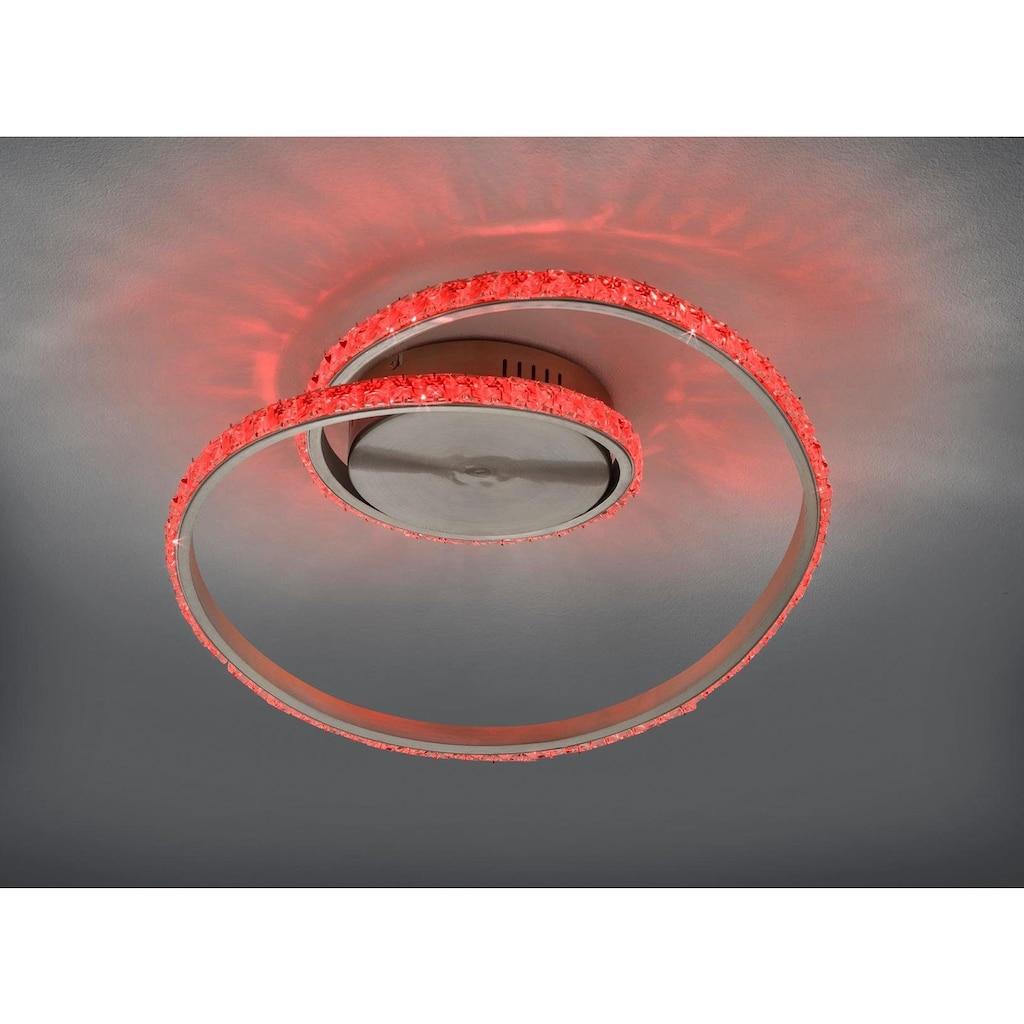 TRIO Leuchten LED Deckenleuchte »Rubin«, LED-Board, 1 St., Warmweiß, Fernbedienung,integrierter Dimmer,Nachtlicht,RGBW-Farbwechsler