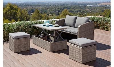 KONIFERA Gartenmöbelset »Lagos«, 10 - tlg., 2er - Sofa, 2 Hocker,Tisch 111x32,5 - 63 cm, Polyrattan kaufen