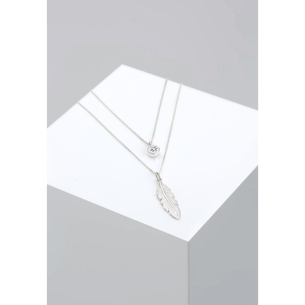 Elli Gliederkette »Layer mit Feder und Kristalle«