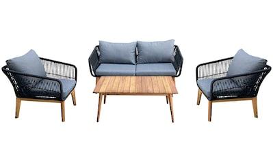 Homexperts Loungeset »Comfy«, (12 tlg.), mit modernem Seilgeflecht, Massivholz und hochwertigen Auflagen kaufen