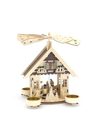 HGD Holz - Glas - Design Pyramide Haus mit Kinder für Teelichte kaufen