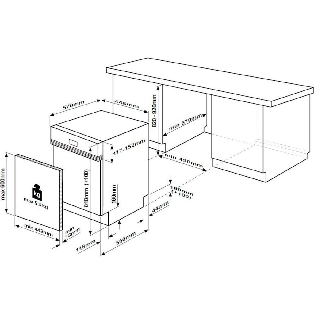 BEKO teilintegrierbarer Geschirrspüler »DSS28021X«, DSS28021X, 8,7 l, 11 Maßgedecke, mit Intensiv 70°C