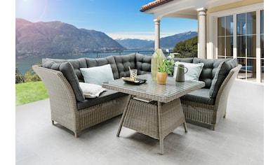 Loungeset »Palma«, Polyrattan, 1 Eckmodul, 2 Sofa, Tisch 90x90 cm kaufen