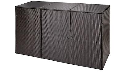 HANSE GARTENLAND Mülltonnenbox, für 3x120 l aus Polyrattan, BxTxH: 189x66x109 cm kaufen