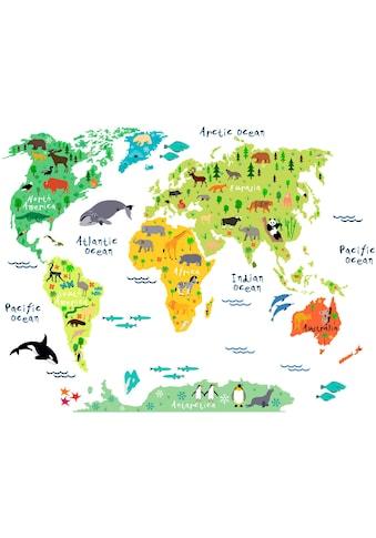 Wall-Art Wandtattoo »tierische Weltkarte« kaufen