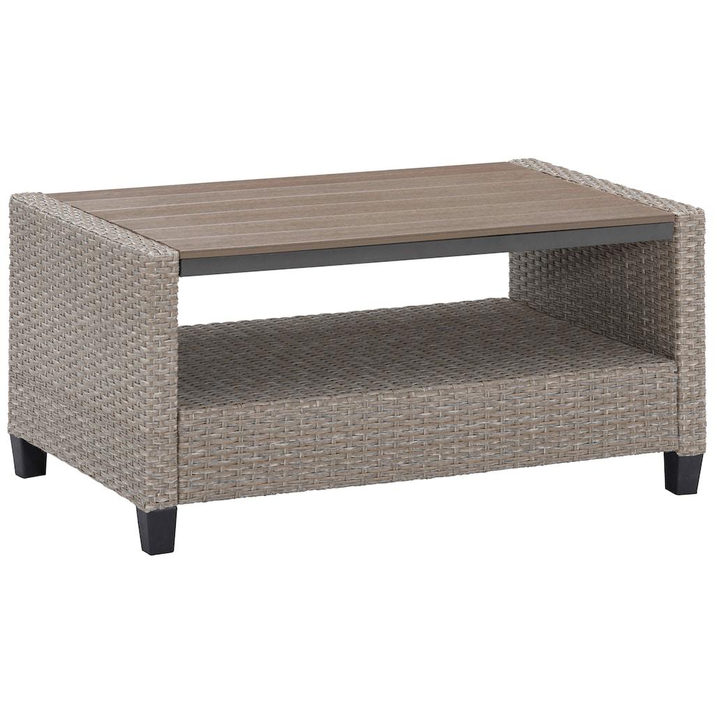 KONIFERA Loungeset »Lorca«, (15 tlg.), 2er Sofa, 2 Sessel, Tisch 90x55 cm, 2 Hocker,Polyrattan, inkl. Auflagen