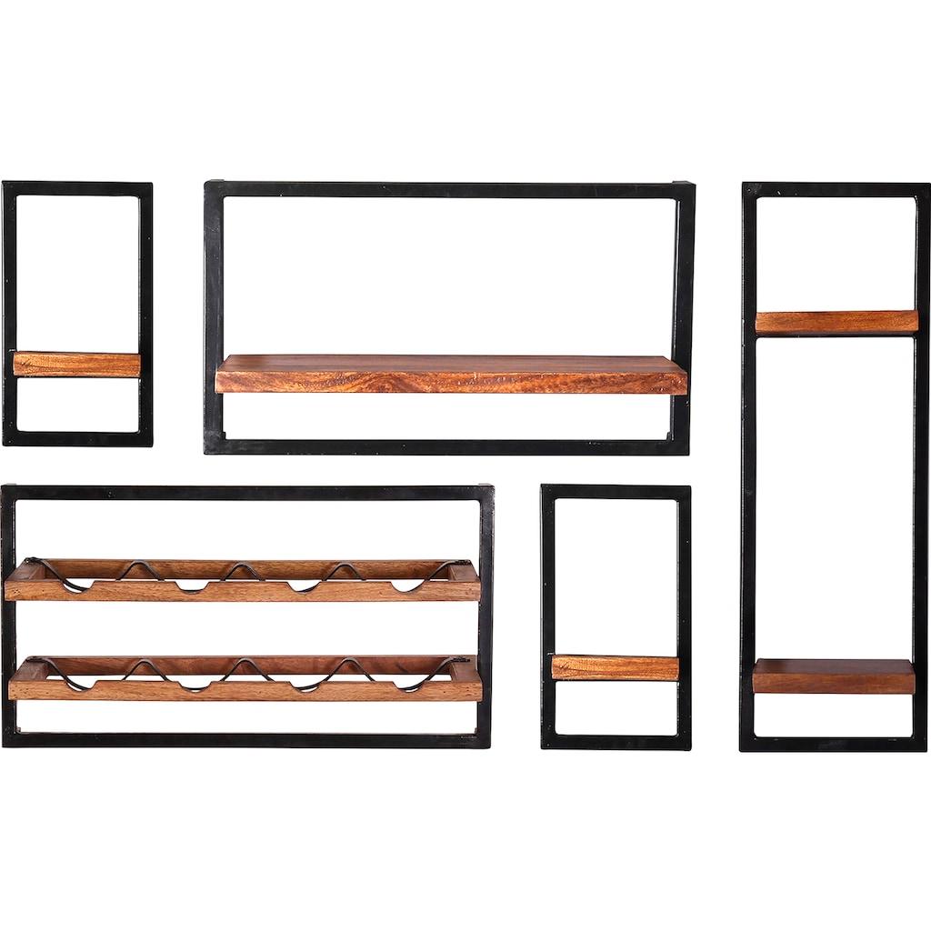 SIT Wandregal »Panama«, (Set, 5 St.), Regalset 5er-Set im Industrial Stil, Mangoholz und Metall