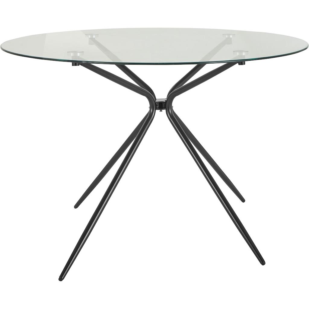 INOSIGN Glastisch »Silvi«, rund, Ø 110 cm, schwarzes Metallgestell