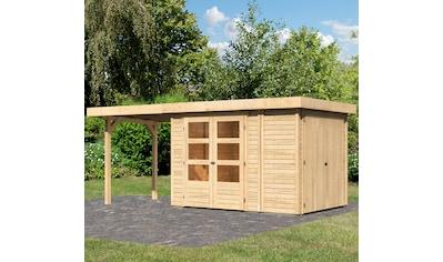 WOODFEELING Set: Gartenhaus »Retola 2«, BxT: 542x238 cm, mit Anbauschrank und Anbaudach kaufen