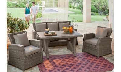 KONIFERA Loungeset »Siros«, (12 tlg.), 3-er Sofa, 2 Sessel, Tisch 135x82 cm, Polyrattan kaufen