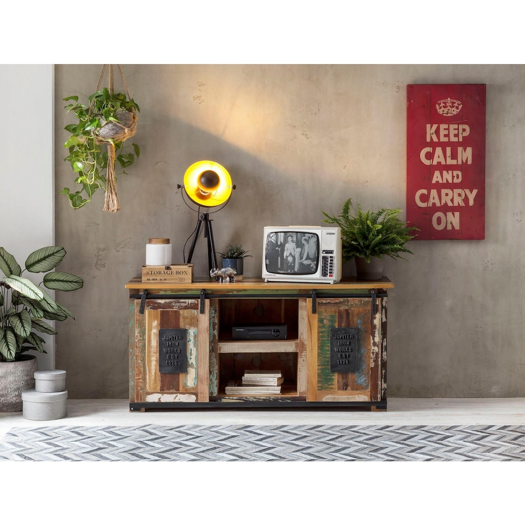 SIT Lowboard »Jupiter«, aus recyceltem Altholz, Breite 130 cm, Shabby Chic, Vintage