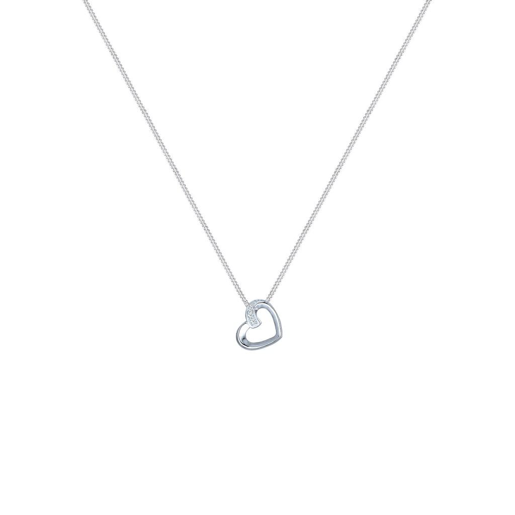 Elli Collierkettchen »Herz Liebe Diamant (0.04 ct.) 925 Silber«