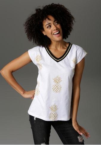 Aniston CASUAL T-Shirt, allover mit Ananas bedruckt - NEUE KOLLEKTION kaufen