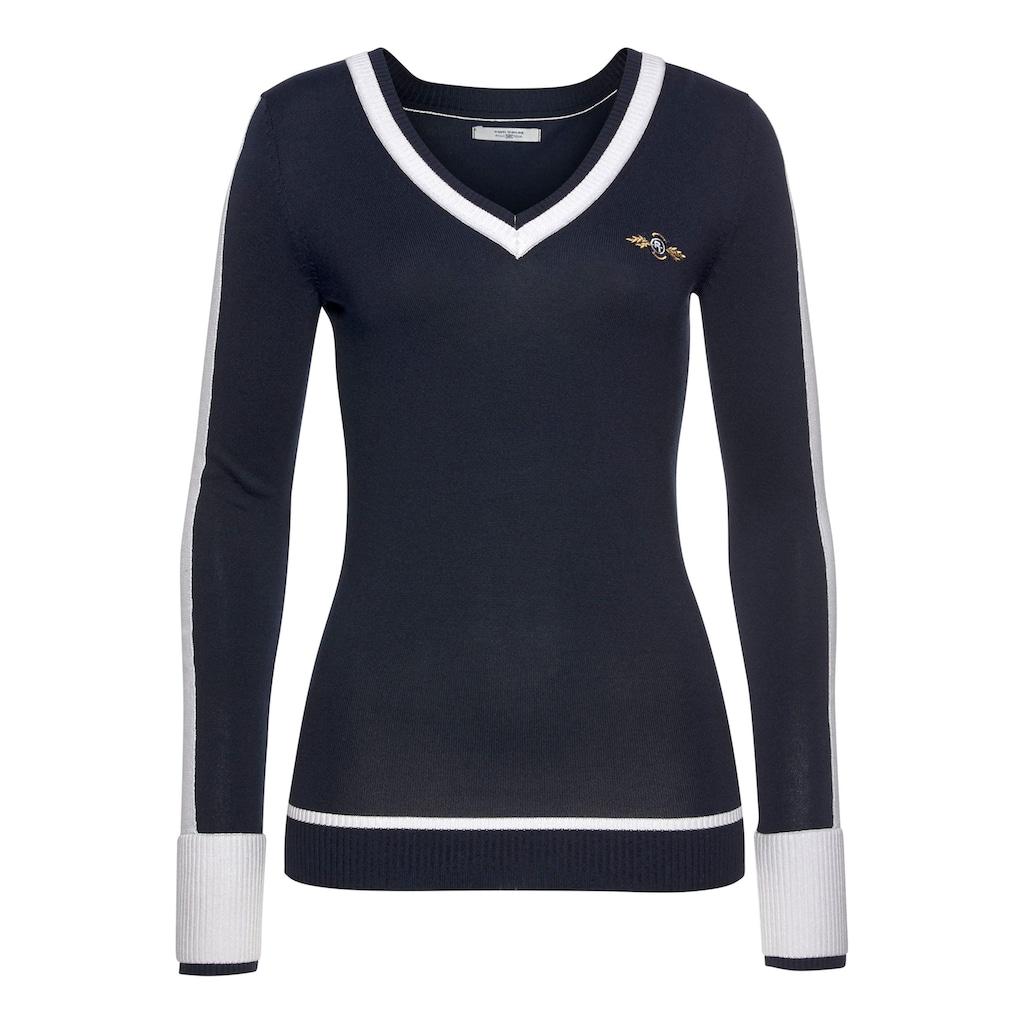 TOM TAILOR Polo Team V-Ausschnitt-Pullover, mit doppelt gearbeiteter, kontrastfarbener Blende an V-Ausschnitt und Ärmelsaum sowie Kontraststreifen am Ärmel