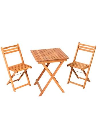 MERXX Gartenmöbelset »Porto«, 3tlg., 2 Sessel, Tisch, klappbar, Eukalyptusholz kaufen