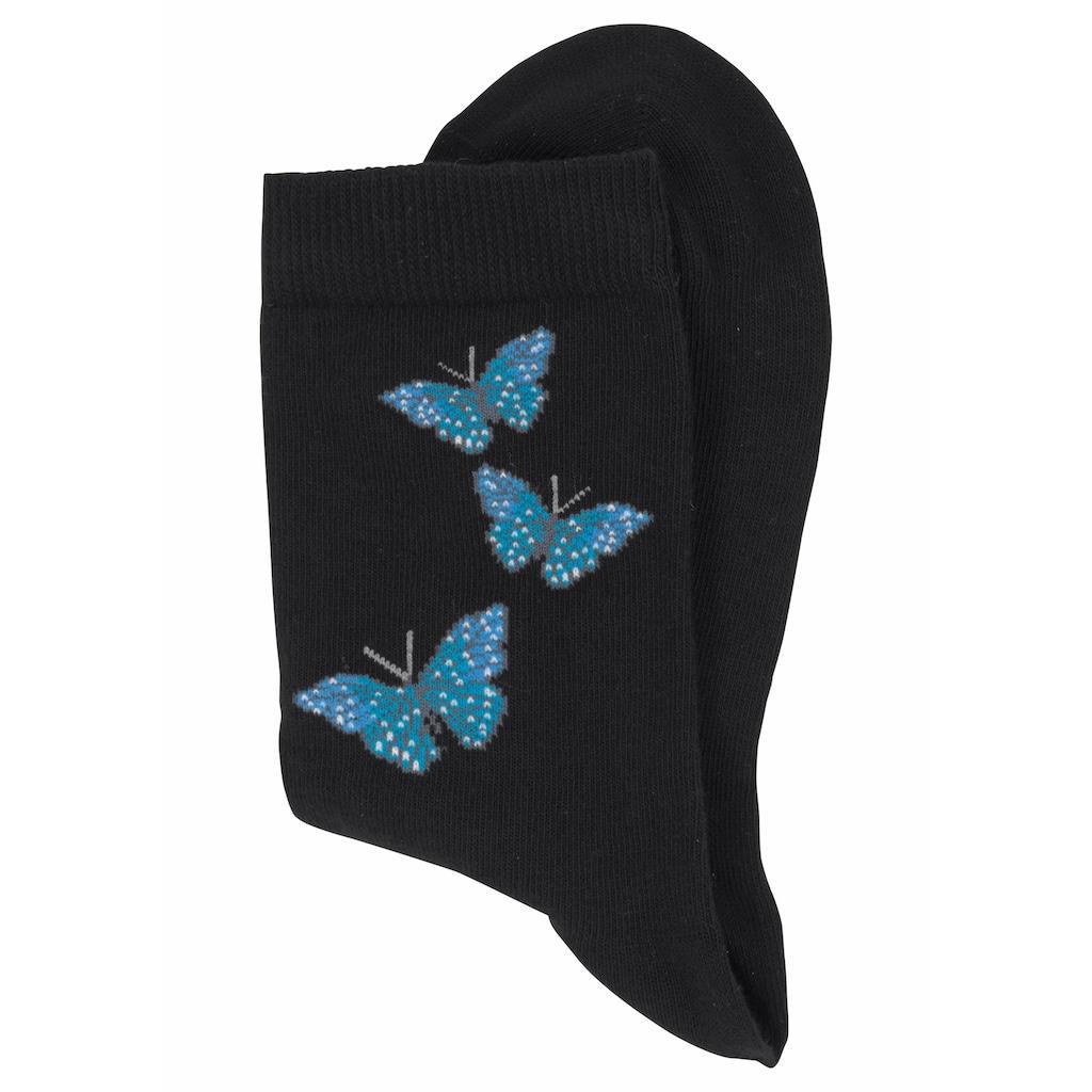 H.I.S Socken, (7 Paar), mit Schmetterlings- und Vogelmotiven