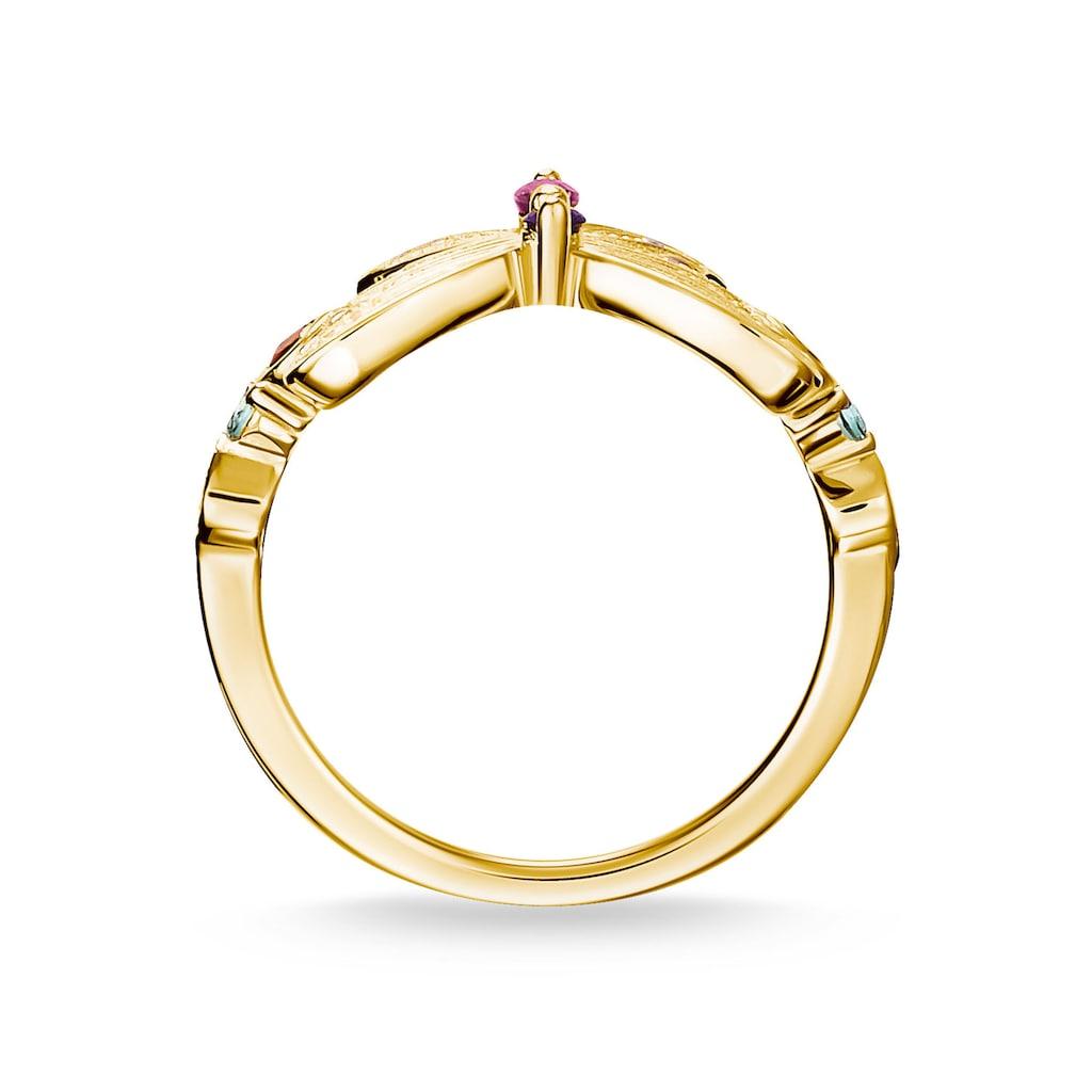 THOMAS SABO Fingerring »Schmetterling gold, TR2285-488-7-52, TR2285-488-7-54, TR2285-488-7-56, TR2285-488-7-58, TR2285-488-7-60«, mit synth. Korund, Glassteinen und Zirkonia