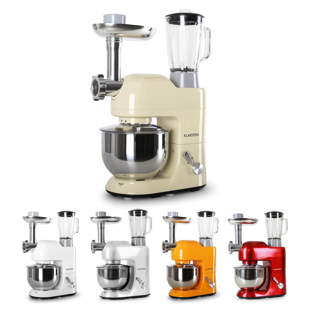 Klarstein Küchenmaschine Rührmaschine 5L Fleischwolf Mixer Blender 1200W
