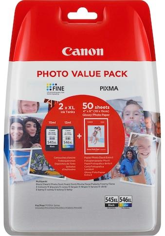 Canon Tintenpatrone »PG-545XL/CL-546XL + Foto Papier«, (Set) kaufen