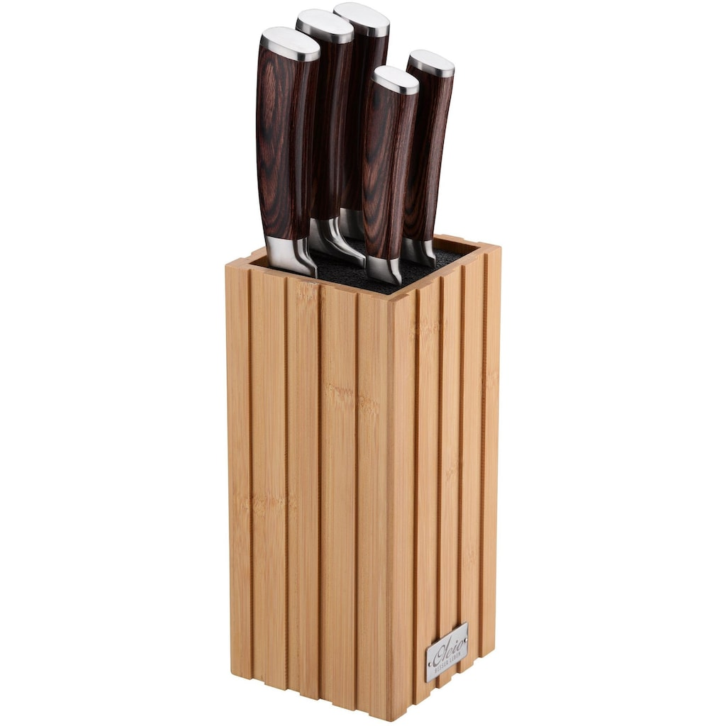 Oleio Messerblock, Bambus, elastischer Borsteneinsatz