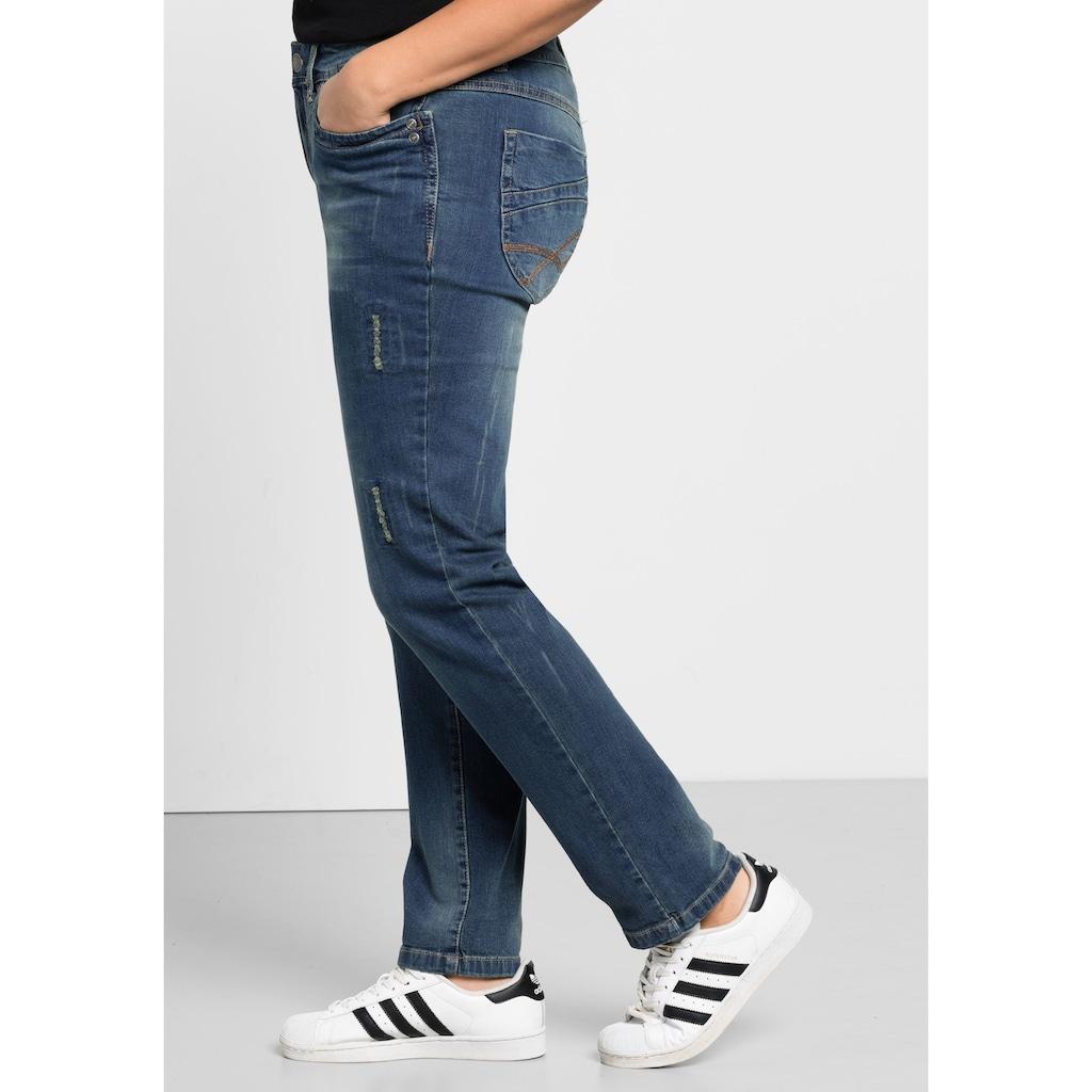 Sheego Stretch-Jeans, Mit Used- und Destroyed-Effekten