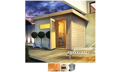 Karibu Saunahaus »Uwe 1«, 9-kW-Bio-Ofen mit ext. Steuerung, Vorraum kaufen