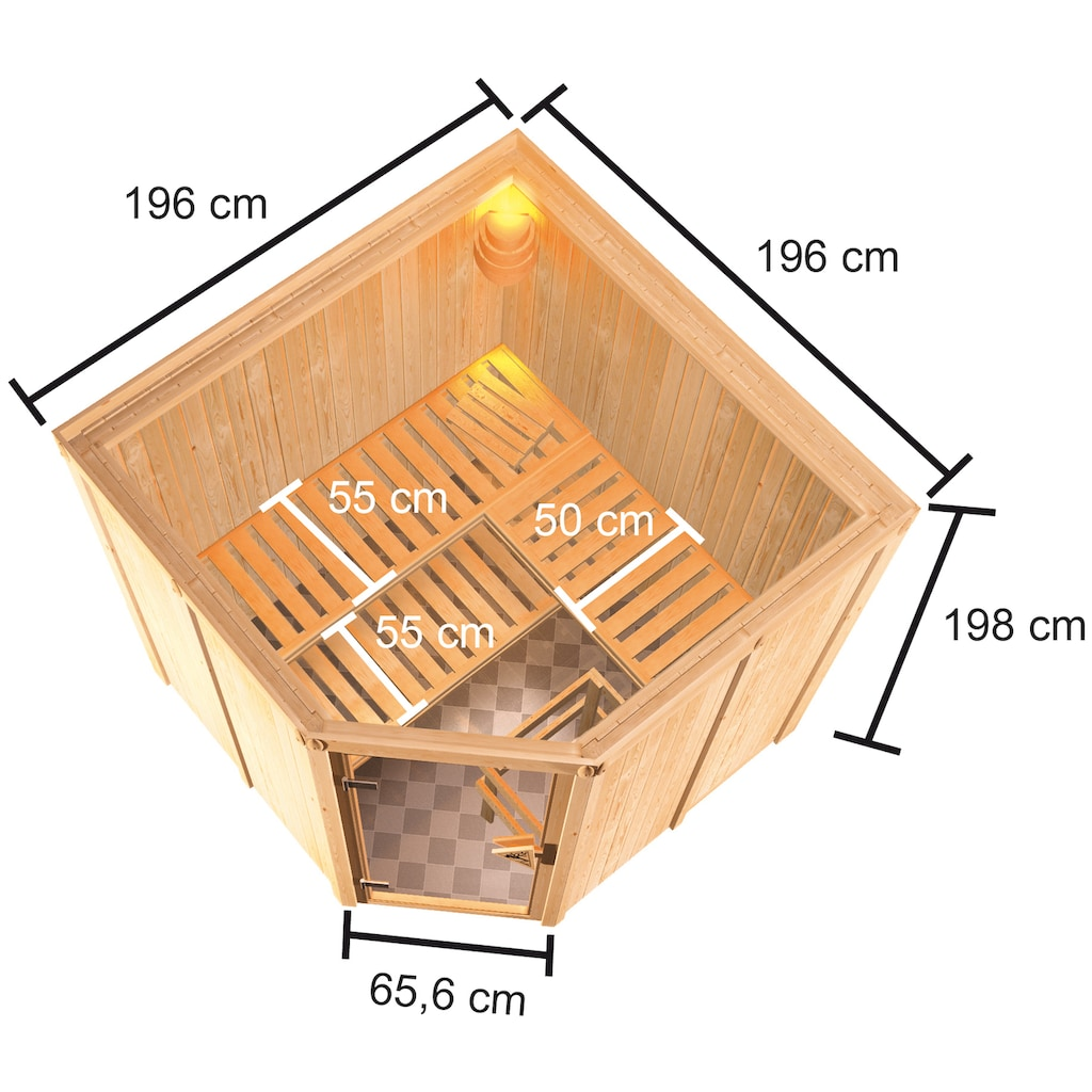 Karibu Sauna »Käthe«, 9-kW-Ofen mit ext. Steuerung