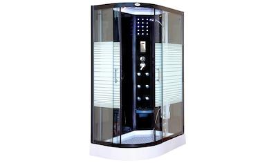 Dampfdusche »Black Pearl Komplettdusche«, BxT: 120 x 80 cm, mit LED Beleuchtung und Radio kaufen