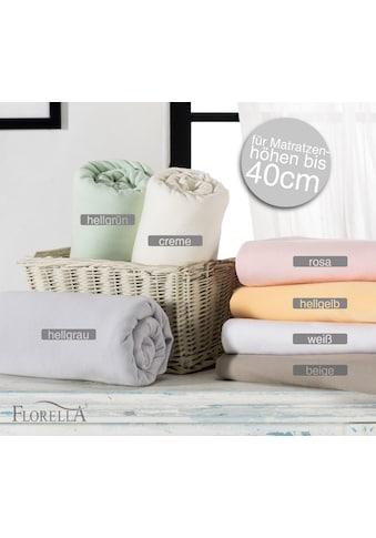 Florella Spannbettlaken »Zwirn Jersey Elasthan mit Rundumgummi, für Matratzenhöhen bis... kaufen
