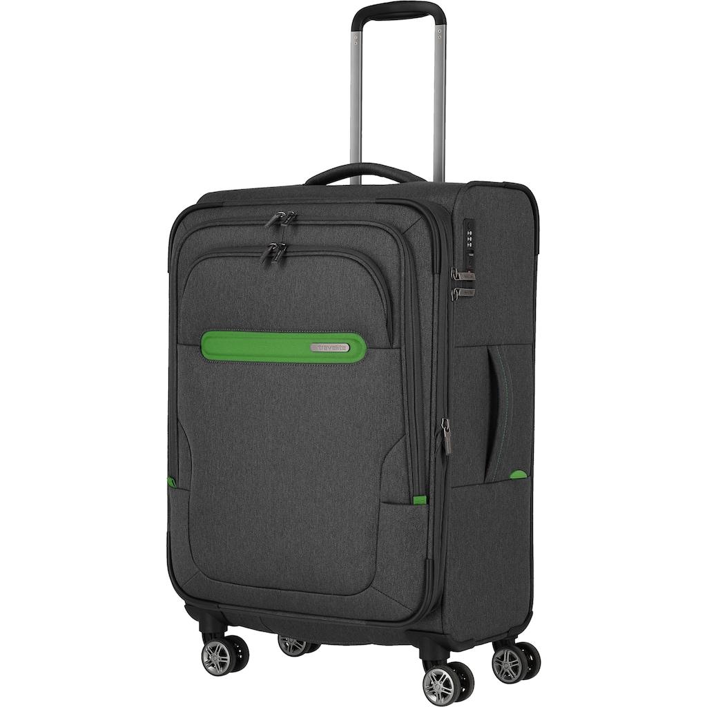 travelite Weichgepäck-Trolley »Madeira, 67 cm, anthrazit/grün«, 4 Rollen, mit Volumenerweiterung