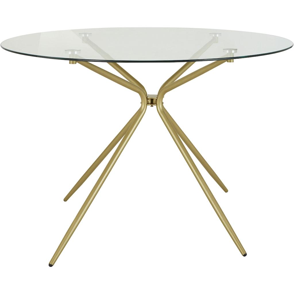 INOSIGN Glastisch »Silvi«, rund, Ø 110 cm, Metallgestell in messingfarben