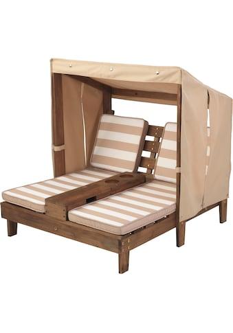 KidKraft® Kinderklappstuhl »Doppelte Sonnenliege mit Getränkehaltern, weiß-beige« kaufen