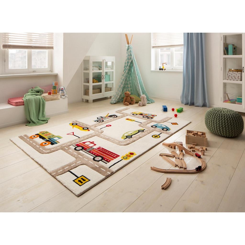 Lüttenhütt Kinderteppich »Strassen«, rechteckig, 13 mm Höhe, handgearbeiteter Konturenschnitt, Straßen-Spielteppich