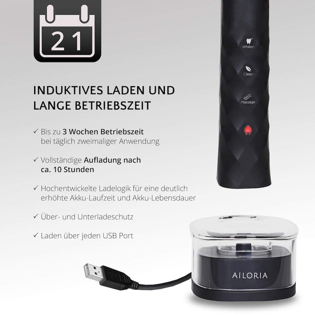 AILORIA Schallzahnbürste »SHINE BRIGHT«, 2 St. Aufsteckbürsten, USB schwarz/silber