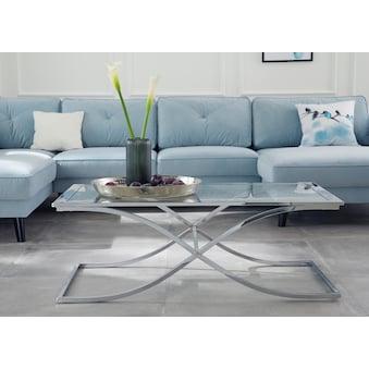 GMK Home U0026 Living Couchtisch »Ballum«, Mit Edlem Metallgestell Und  Glasplatte, Breite