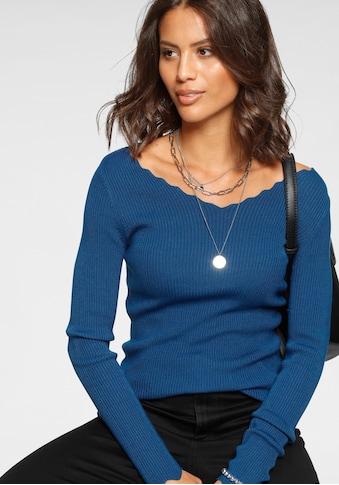 Laura Scott V-Ausschnitt-Pullover, mit femininer Wellenkante - NEUE FARBEN kaufen