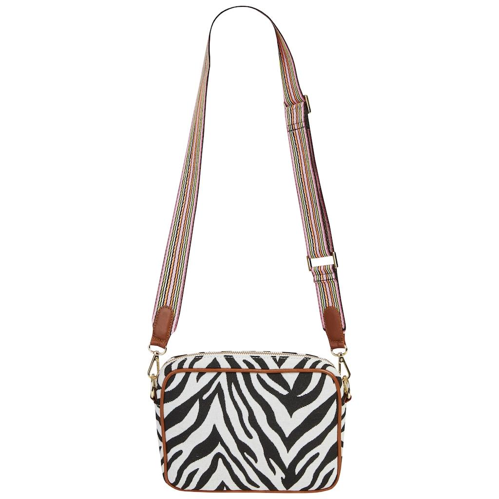 Codello Crossbody-Bag mit Zebra-Dessin aus Canvas